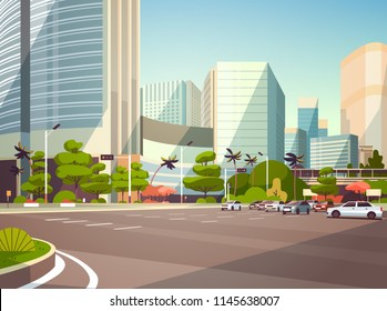 City car parking over skyscraper buildings modern cityscape background horizontal flat vector illustration
