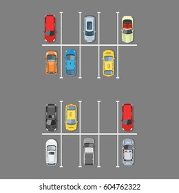 City car parking vector illustration. Top view of parking zone with a variety of cars. The parking garage with free places in flat style.