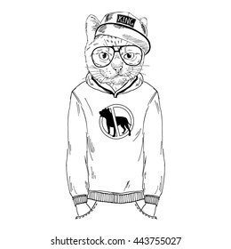 city cat dressed up in hoodie, furry art illustration, fashion animals