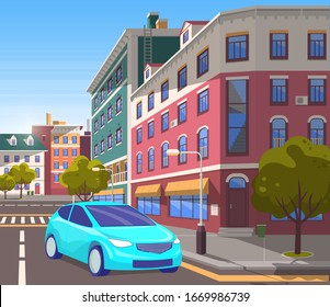 City center street with modern buildings and decor. Car riding on roads of modern town. Estates and architecture, cityscape with constructions. Townscape with vehicle. Vector in isometric 3D style