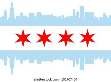 City of Chicago flag with high rise buildings skyline