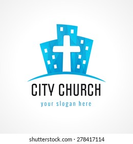 City church vector logo. Downtown block houses, crucifix, christian colored icon. Religious symbol.