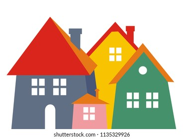 City, colored silhouette. Vector icon. Group of houses with smokestack, windows and door. 3d
