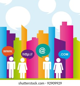 City with colors and people communication. vector illustrator