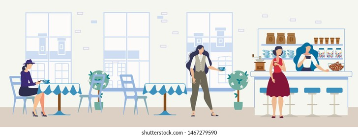City Comfortable Cafe, Cozy Restaurant or Coffee Shop Flat Vector Interior with Female Clients, Women Ordering Beverage, Buying Drink and Sweets, Drinking Coffee or Tea at Cafeteria Table Illustration