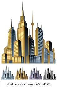City: Comic book city in 5 color versions. No transparency used. Basic (linear) gradients.