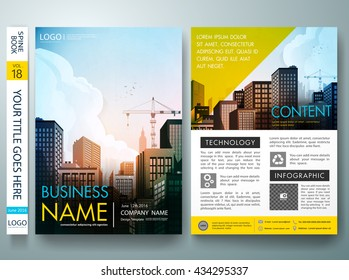 City concept in brochure layout. Flyers design template vector. Business magazine report and minimal portfolio. Cover book presentation and abstract blue shape on a4 poster.