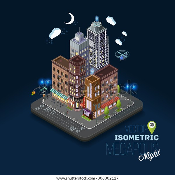 City concept with isometric buildings, shops, offices, cafes, skyscrapers and government buildings. Night city, evening atmosphere, metropolis, urban flat 3d vector illustration.