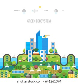 City concept. Modern town. Green ecosystem.