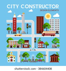 City constructor design elements with different objects of urban infrastructure on blue background vector illustration