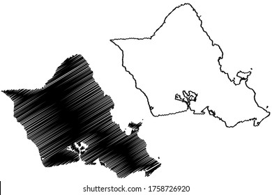 City and County of Honolulu, Hawaii (U.S. county, United States of America, USA, U.S., US, island, archipelago) map vector illustration, scribble sketch Oahu map