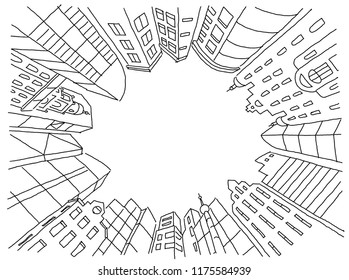 City courtyard at home in a circle frame. Background sketch for text on the rental of real estate. Apartment house outdoors. Flat vector illustration clipart. Hand drawn black line.