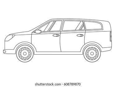 The city crossover for all family. Hatchback car. Vehicle linear art flat style vector. A concept of design of an icon of the motorized vehicle with the internal combustion engine and a hybrid.