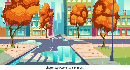 City crossroad in autumn rain time, empty transport intersection with zebra crossing, puddles and fallen leaves. Urban architecture, infrastructure, megapolis street with trees. Cartoon vector
