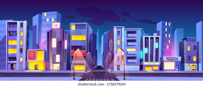 City crossroad at night time, empty transport intersection with zebra crossing, glowing street lamps. Urban architecture, infrastructure, megapolis with modern buildings, Cartoon vector illustration