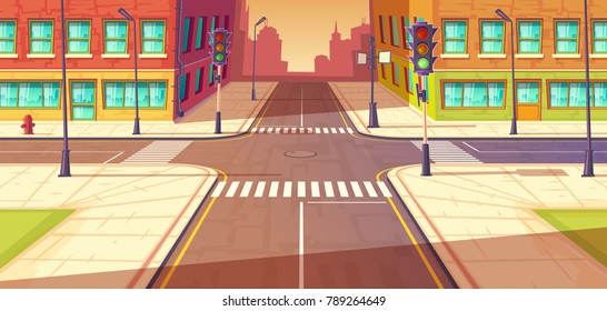 City crossroads, intersection vector cartoon illustration. Urban highway, crosswalk with traffic lights. Town buildings view.