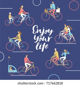 City cyclists poster. Including families with children and pairs. enjoy your life title.