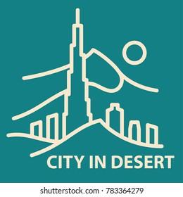 City in desert icon in linear style. City in desert banner template. Vector illustration.