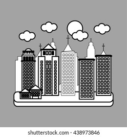City design. Building icon. Isolated illustration