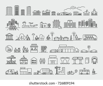 City design elements line icons set