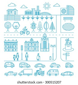 City design elements. Linear style. Vector illustration.