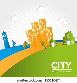 city design over landscape background vector illustration