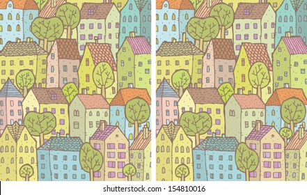 City Differences Visual Game. Task: find 10 differences! Solution in hidden layer (vector file only). Illustration is in eps8 vector mode!