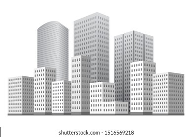 City district with multi-storey buildings. Monochrome. Vector illustration.