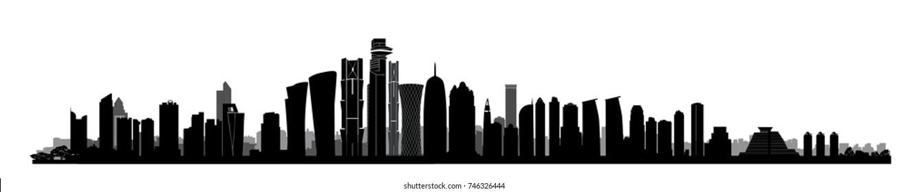 City Doha skyline. Arabic Urban cityscape. Qatar capital skyscraper buildings silhouette
