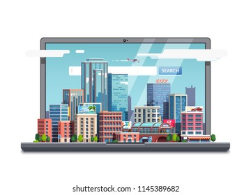 City downtown display on laptop computer screen with search field inside. City real estate skyscraper business buildings cityscape. Online real estate business search concept. Flat vector illustration