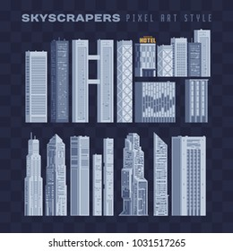 City downtown landscape with high skyscrapers isolated abstract pixel art vector illustrations big city business center. Panorama architecture. 8-bit. Design for stickers, logo, embroidery, mobile app