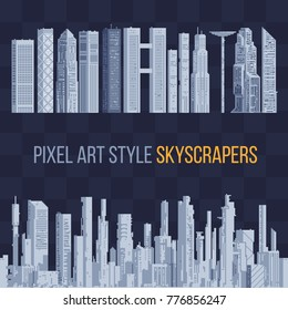 City downtown landscape with high skyscrapers. Panorama architecture. Isolated abstract pixel art vector illustrations. 8-bit sprite.