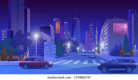 City downtown at night vector illustration. Cartoon flat modern blue futuristic cityscape with skyscrapers in glowing neon lights, cars on illuminated street road, nightlife town landscape background