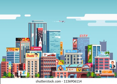 City downtown scenery with skyscrapers, commercial buildings, outdoor advertising billboards. City center cityscape. Business downtown, lots of ad's. Flat vector illustration isolated on background