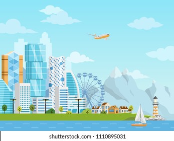 City downtown and suburb vector panorama with buildings, skyscrapers, private houses and river traffic on a background mountains and hills