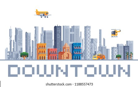 City downtown urban landscape with high skyscrapers isolated abstract pixel art vector illustrations big city business center. Panorama architecture. 8-bit. Design for stickers, logo, embroidery, app.