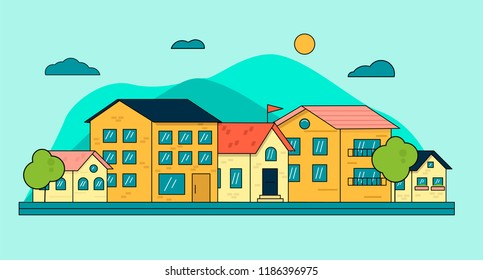 City downtown or village with buildings, clouds, blue sky, mountains. Line cityscape view. Town real estate banner. Linear vector illustration isolated