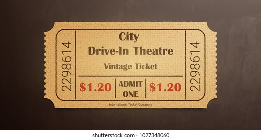 City drive-in theater vintage ticket. High detail grunge paper or cardboard.Vintage old coupon. Retro ticket template. Vector illustration.