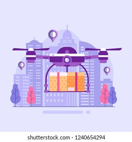 City drone delivery service with copter carrying package concept illustration. Quad copter shipping parcel box on modern town background.