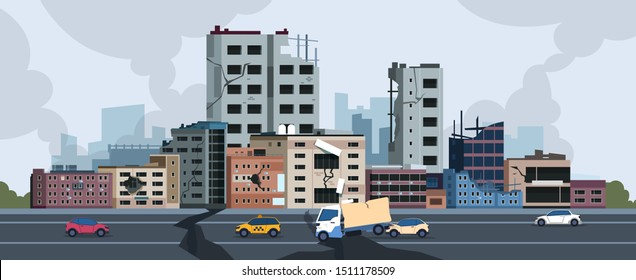 City earthquake. Cartoon natural disaster landscape with cracks and damages on buildings and ground. Vector city destruction after quake or disaster. Illustration concept insurance construction