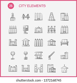 City Elements Hand Drawn Icons Set For Infographics, Mobile UX/UI Kit And Print Design. Include: Car, Vehicle, Travel, Transport, Fountain, Water Shower, City, Eps 10 - Vector