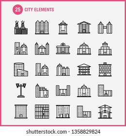 City Elements Line Icons Set For Infographics, Mobile UX\u002FUI Kit And Print Design. Include: Tower, Building, City, Office,, Buildings, Tower, City, Office, Eps 10 - Vector
