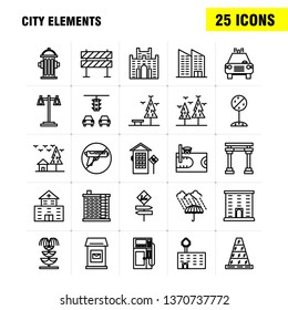 City Elements Line Icons Set For Infographics, Mobile UX/UI Kit And Print Design. Include: Car, Vehicle, Travel, Transport, Swing, Kids, Parks, Play, Eps 10 - Vector