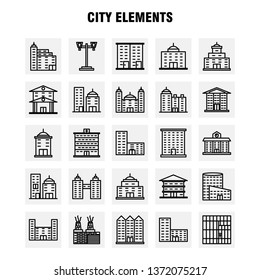 City Elements Line Icons Set For Infographics, Mobile UX/UI Kit And Print Design. Include: Tower, Building, City, Office,, Buildings, Tower, City, Office, Eps 10 - Vector