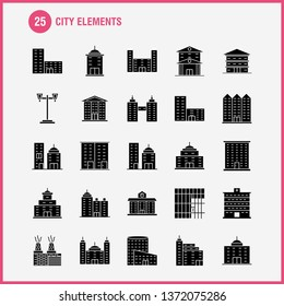 City Elements Solid Glyph Icons Set For Infographics, Mobile UX\u002FUI Kit And Print Design. Include: Tower, Building, City, Office,, Buildings, Tower, City, Office, Eps 10 - Vector