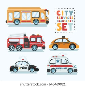 City emergency transport isolated set. Ambulance car, school bus, police car, fire truck, taxi, police vector illustration. Service auto vehicle, urban social car, roadside assistance transport.