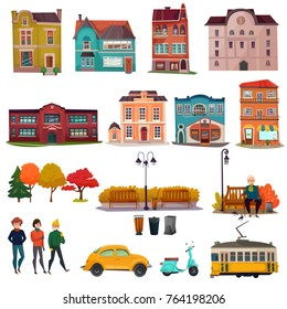 City environment isolated icons set of municipal buildings urban vehicles and park landscape elements cartoon vector Illustration