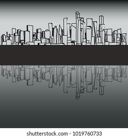 City exterior panoram vector illustration with buildings and skyscrapers