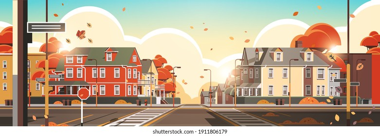city facade buildings empty no people urban street real estate houses exterior sunset autumn cityscape background horizontal vector illustration