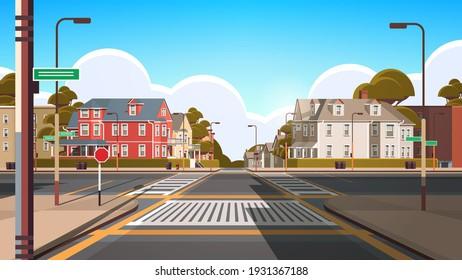 city facade buildings empty no people urban street real estate cute town exterior horizontal vector illustration